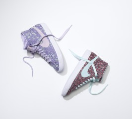 The Nike Blazer High in Liberty's Capel and Pepper fabric.