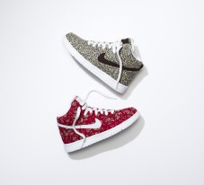 The Nike Dunk High in Liberty's Capel and Pepper fabric.